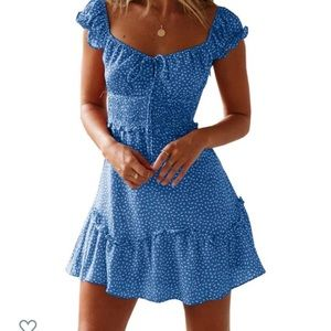 Ruffle Sleeve Sweetheart Neckline Mini Dress